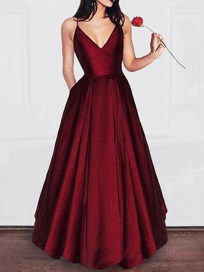 A-Line/Princess V-neck Satin Sleeveless Floor-Length Ruffle Evening Dresses (017212099)