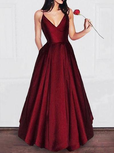 Satin Sleeveless A-Line/Princess Prom Dresses V-neck Ruffle Floor-Length (018217331)