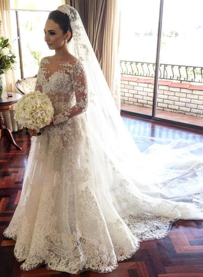 Sexy Court Train A-Line/Princess Wedding Dresses Scoop Lace Long Sleeves (002146957)