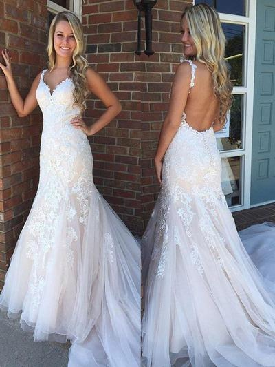 2019 New Sweep Train Trumpet/Mermaid Wedding Dresses V-neck Tulle Sleeveless (002217839)