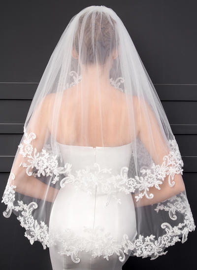 Elbow Bridal Veils Two-tier Classic With Lace Applique Edge With Lace Wedding Veils (006152549)