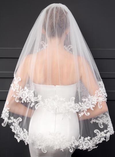 Ellenbogen Braut Schleier Zweischichtig Klassische Art mit Spitze Saum mit Lace Brautschleier (006152549)