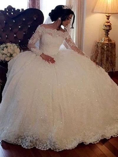 Princess Floor-Length Ball-Gown Wedding Dresses Off-The-Shoulder Lace Long Sleeves (002218048)