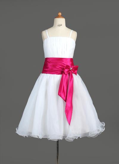 Sweetheart Knee-length A-Line/Princess Flower Girl Dresses Organza/Charmeuse Sleeveless (010005774)