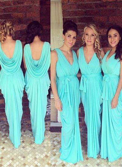 Jersey Sleeveless Sheath/Column Bridesmaid Dresses V-neck Ruffle Bow(s) Floor-Length (007145038)