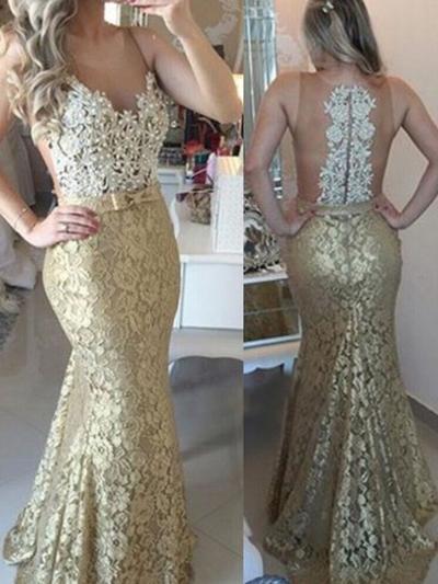 Sleeveless Trumpet/Mermaid Prom Dresses Scoop Neck Sash Beading Appliques Lace Sweep Train (018212220)