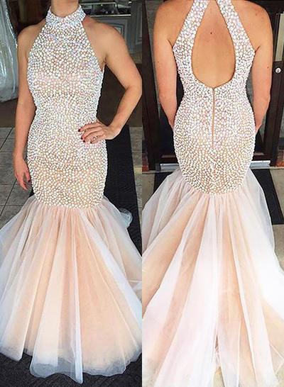 Tulle Sleeveless Trumpet/Mermaid Prom Dresses Scoop Neck Sweep Train (018148500)