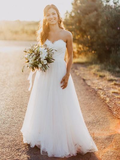 Wunderschön Bodenlang Brautkleider Schatz Tüll Ärmellos (002213517)