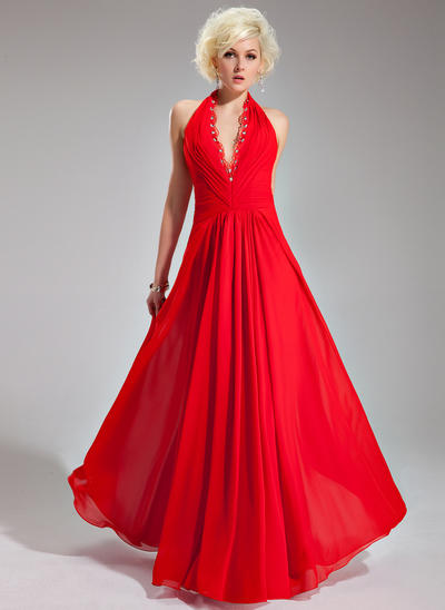 A-Line/Princess Halter Chiffon Sleeveless Floor-Length Ruffle Lace Beading Evening Dresses (017019761)