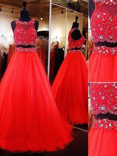 Tulle Sleeveless A-Line/Princess Prom Dresses Scoop Neck Beading Floor-Length Detachable (018210395)