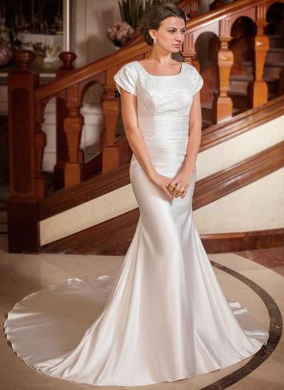 Sweetheart Chapel Train Trumpet/Mermaid Wedding Dresses Square Satin Short Sleeves (002001668)