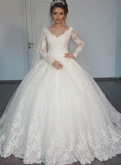 Gorgeous Floor-Length Ball-Gown Wedding Dresses V-neck Tulle Long Sleeves (002147806)