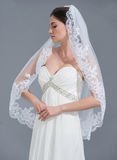 Fingertip Bridal Veils Tulle One-tier Classic With Lace Applique Edge Wedding Veils (006152232)