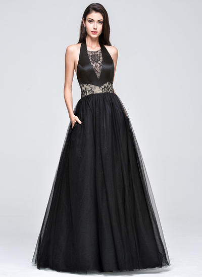 Tulle Sleeveless Ball-Gown Prom Dresses Halter Lace Floor-Length (018210661)
