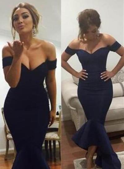 off-the-shoulder asymmetrical evening dress