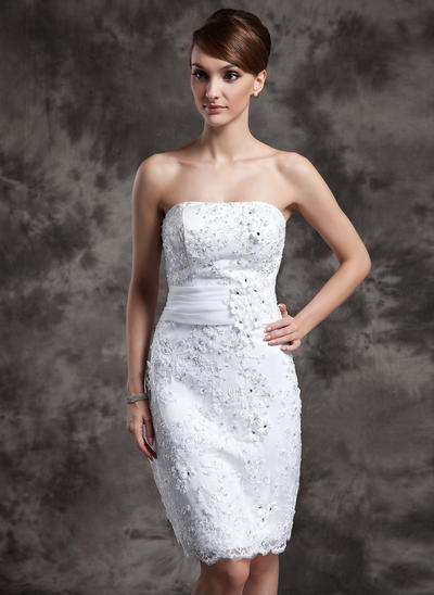 Newest Knee-Length Sheath/Column Wedding Dresses Strapless Satin Organza Lace Sleeveless (002211377)
