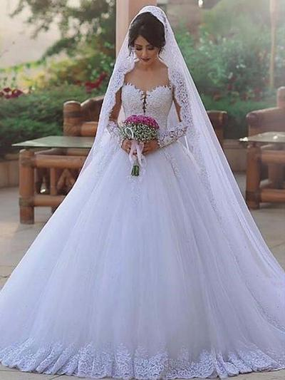 Flattering Sweep Train Ball-Gown Wedding Dresses Sweetheart Tulle Long Sleeves (002217898)