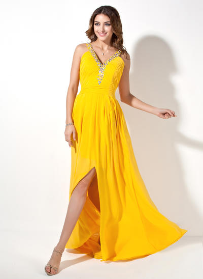 A-Line/Princess V-neck Chiffon Sleeveless Sweep Train Ruffle Beading Split Front Evening Dresses (017017411)