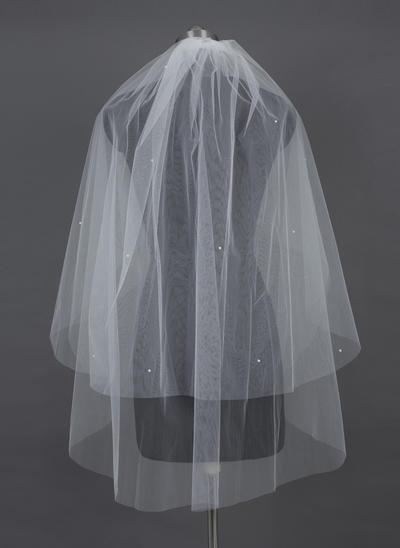 Fingerspitze Braut Schleier Tüll Zweischichtig Klassische Art/Kaskade mit Schnittkante Brautschleier (006151033)