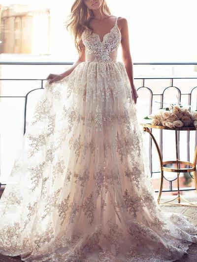 Elegant Sweep Train A-Line/Princess Wedding Dresses V-neck Lace Sleeveless (002144923)