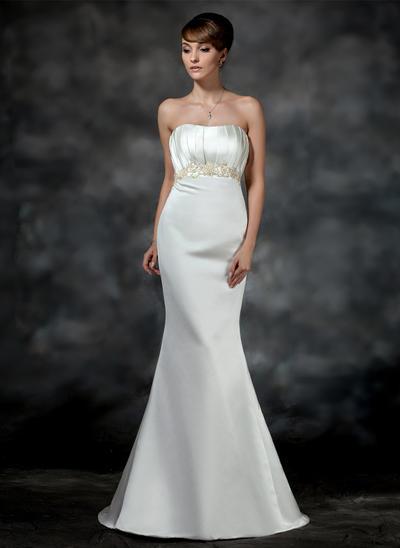 Stunning Court Train Trumpet/Mermaid Wedding Dresses Sweetheart Satin Sleeveless (002196855)