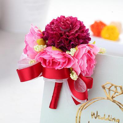 Wrist Corsage/Boutonniere Wedding Fabric Girly Wedding Flowers (123189509)