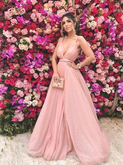 Chiffon Sleeveless A-Line/Princess Prom Dresses V-neck Ruffle Beading Sweep Train (018218583)