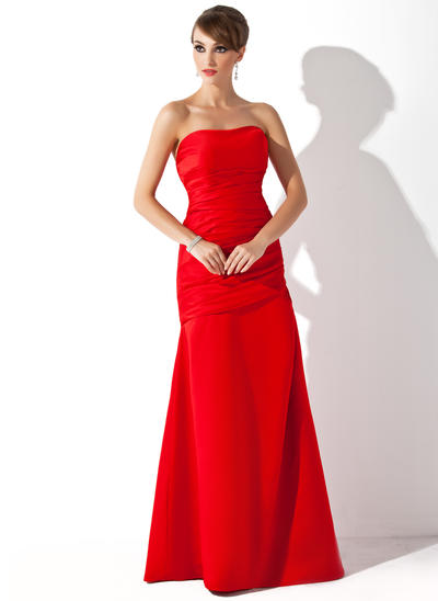 Satin Sleeveless Trumpet/Mermaid Bridesmaid Dresses Strapless Ruffle Floor-Length (007001894)