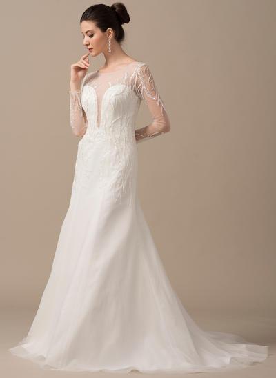 Beautiful Sweep Train A-Line/Princess Wedding Dresses Scoop Tulle Long Sleeves (002210632)