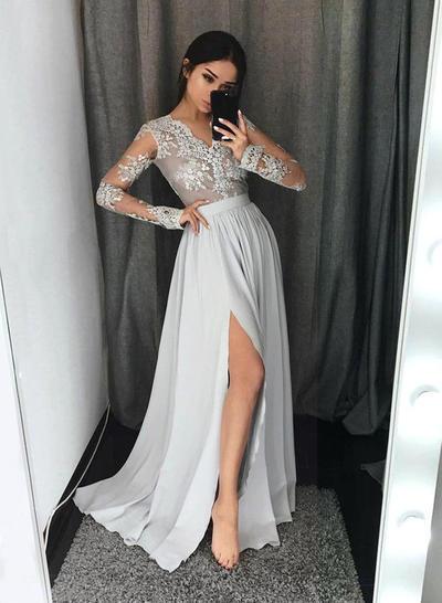 Chiffon Long Sleeves A-Line/Princess Prom Dresses V-neck Lace Floor-Length (018211006)