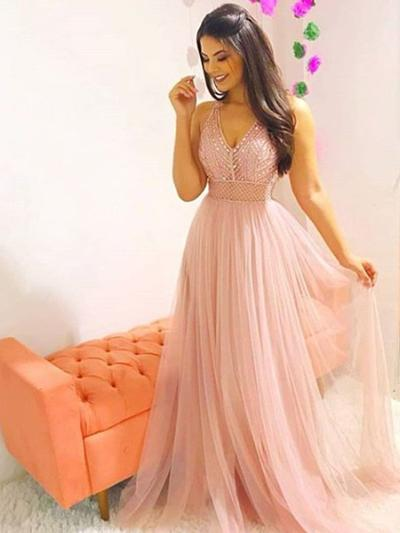 Tulle Sleeveless A-Line/Princess Prom Dresses V-neck Beading Sweep Train (018218639)