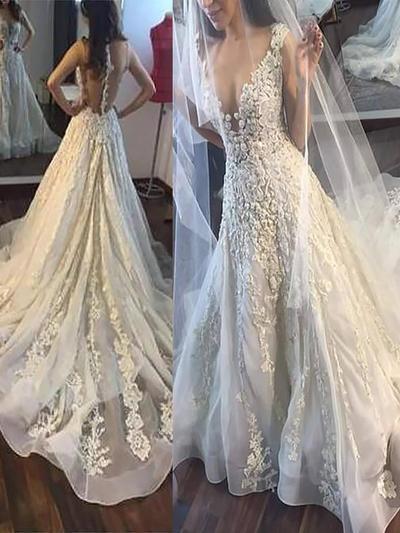 Beautiful Court Train A-Line/Princess Wedding Dresses Deep V Neck Tulle Sleeveless (002148028)