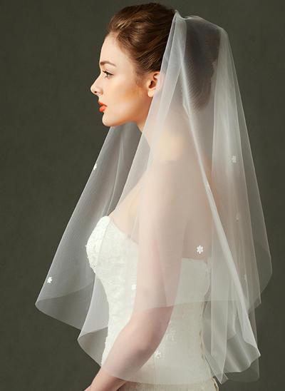Ellenbogen Braut Schleier Tüll Einschichtig Rechteckig mit Schnittkante Brautschleier (006151881)