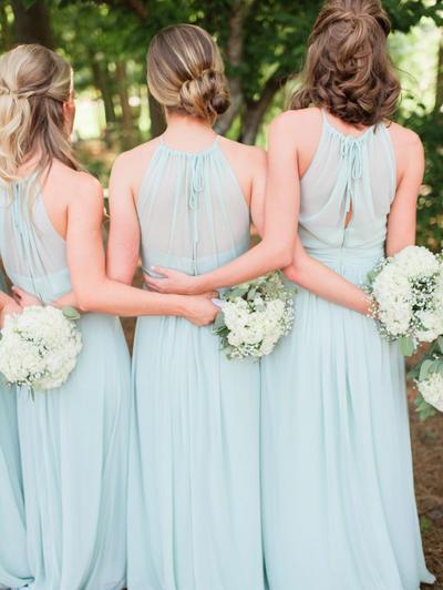 Chiffon Sleeveless A-Line/Princess Bridesmaid Dresses Scoop Neck Ruffle Bow(s) Floor-Length (007145105)