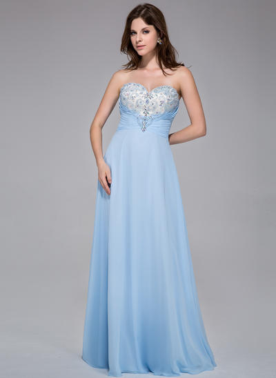 Chiffon Sleeveless A-Line/Princess Prom Dresses Sweetheart Ruffle Beading Floor-Length (018025518)