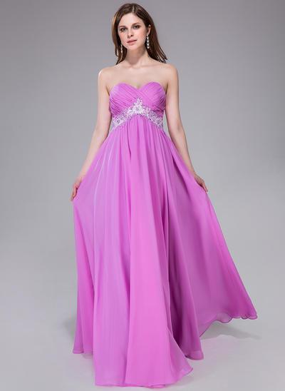 Chiffon Sleeveless Empire Prom Dresses Sweetheart Ruffle Sash Beading Appliques Lace Sequins Floor-Length (018040813)