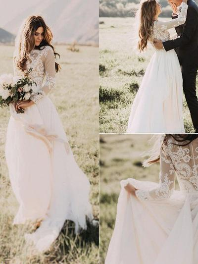 Sweetheart Floor-Length A-Line/Princess Wedding Dresses Scoop Chiffon Long Sleeves (002217951)