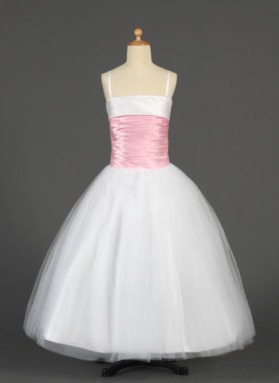 Luxurious Floor-length Ball Gown Flower Girl Dresses Straps Tulle/Charmeuse Sleeveless (010014628)
