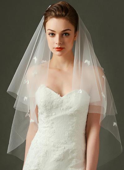 Fingerspitze Braut Schleier Tüll Einschichtig Rechteckig mit Schnittkante Brautschleier (006151883)