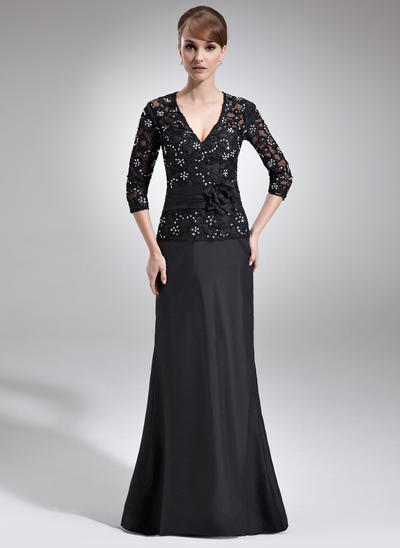 A-Line/Princess V-neck Taffeta Lace 3/4 Sleeves Floor-Length Beading Flower(s) Sequins Mother of the Bride Dresses (008006045)