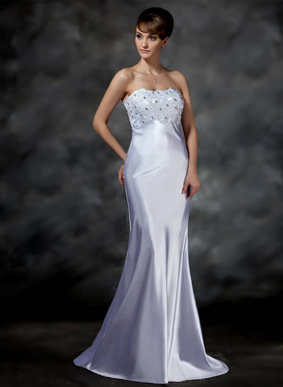 Stunning Sweep Train Trumpet/Mermaid Wedding Dresses Sweetheart Charmeuse Sleeveless (002001615)