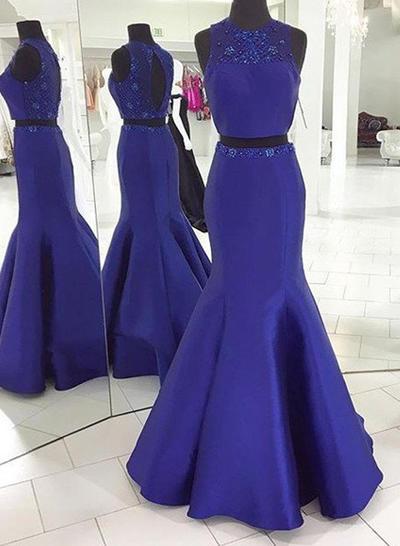 Sleeveless Trumpet/Mermaid Prom Dresses Scoop Neck Beading Sweep Train Detachable (018212205)