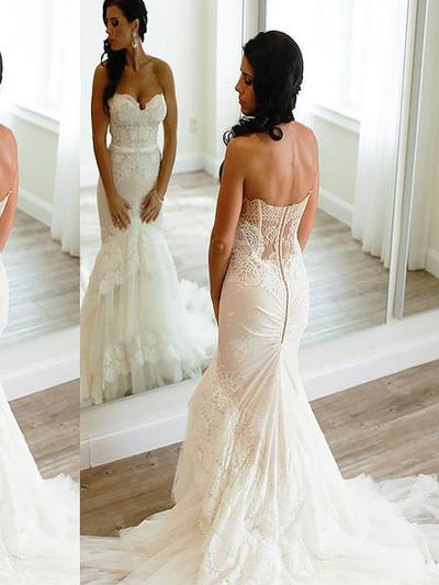 Luxurious Court Train Trumpet/Mermaid Wedding Dresses Sweetheart Tulle Sleeveless (002148020)