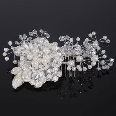 """Combs & Barrettes Wedding Crystal/Imitation Pearls/Lace 5.91""""(Approx.15cm) 3.55""""(Approx.9cm) Headpieces (042159020)"""