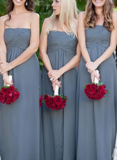 Chiffon Sleeveless A-Line/Princess Bridesmaid Dresses Strapless Ruffle Floor-Length (007144982)