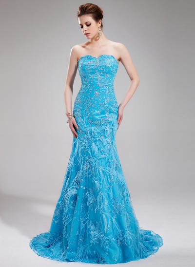 Trumpet/Mermaid Sweetheart Lace Sleeveless Sweep Train Beading Feather Sequins Evening Dresses (017019440)