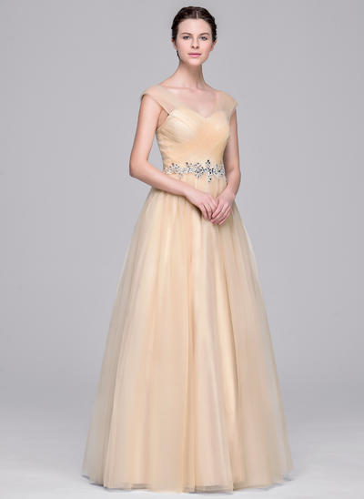Fashion Floor-Length Ball-Gown Wedding Dresses Sweetheart Tulle Sleeveless (002210663)