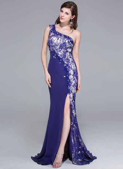 Chiffon Lace Sleeveless Trumpet/Mermaid Prom Dresses One-Shoulder Beading Sequins Split Front Sweep Train (018025650)