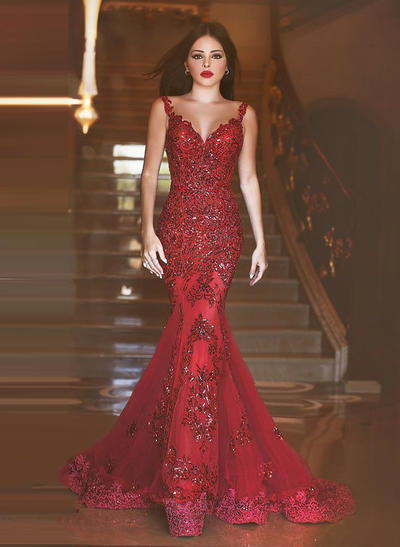 Tulle Sleeveless Trumpet/Mermaid Prom Dresses V-neck Beading Appliques Lace Sequins Sweep Train (018148417)