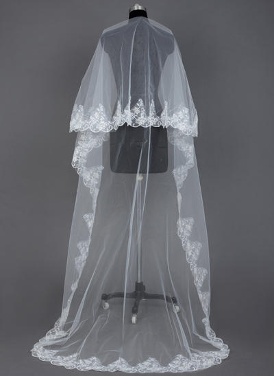 Cathedral Bridal Veils Tulle One-tier Drop Veil With Lace Applique Edge Wedding Veils (006151579)